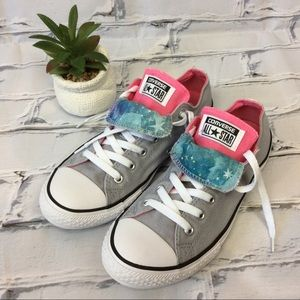 Converse All Star Grey/Pink Sneakers, Size 5Junior